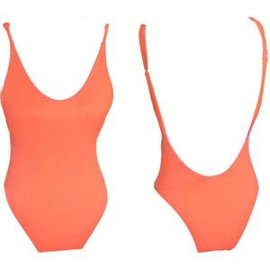 Aerie | Neon Orange Coral Textured cheeky swimsuit